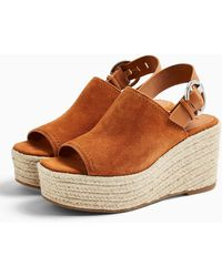 TOPSHOP Ildleather Wedge Sandals - Brown