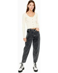 TOPSHOP Washed Black Ovoid Tapered Jeans