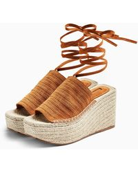 TOPSHOP Weekend Tan Leather Wedges - Brown