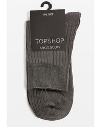 TOPSHOP - Slinky Ribbed Ankle Socks - Lyst