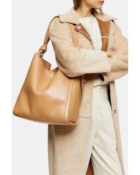 TOPSHOP Helen Camel Ruched Hobo Bag - Natural
