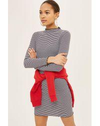 TOPSHOP - Stripe Frill Edge Bodycon Dress - Lyst