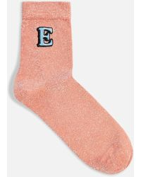 TOPSHOP - Glitter Embroidered E Socks - Lyst