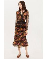 TOPSHOP - Floral Midi Dress - Lyst