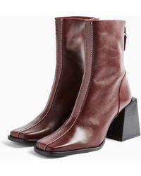 TOPSHOP Hades Leather Red Boots