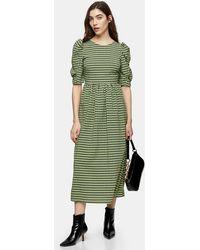 TOPSHOP Tall Lime Green Gingham Smock Dress