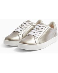 TOPSHOP Curly Lace Up Trainers in Grey