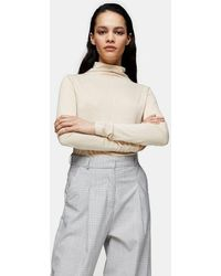 TOPSHOP Pintuck Turtle Neck T-shirt By Boutique - Natural