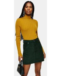 TOPSHOP Roll Neck Knitted Top - Yellow
