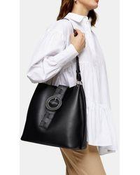 TOPSHOP Winni Black Woven Tab Hobo Bag