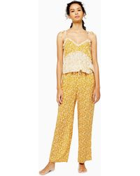 TOPSHOP - Mixed Floral Wide Leg Pyjama Trousers - Lyst