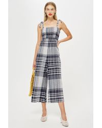 TOPSHOP - Shirred Check Jumpsuit - Lyst