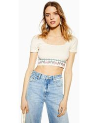 44c4e8ce9b0 TOPSHOP Lace Bardot Crop Top in White - Lyst