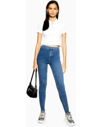 TOPSHOP Tall Belt Loop Joni Jeans In Indigo - Blue