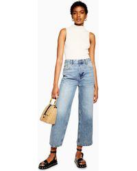 TOPSHOP Bleach New Crop Jeans - Blue