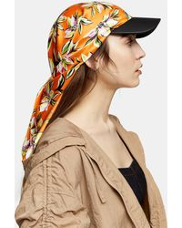 TOPSHOP Floral Print Scarf Cap - Orange