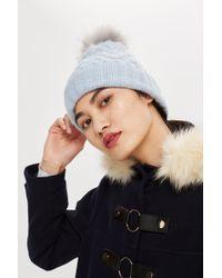 c57fce8595b Lyst - Topshop Faux Fur Pom Beanie Hat in Black
