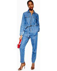 TOPSHOP Combi-short ample style militaire en jean Petite - Bleu