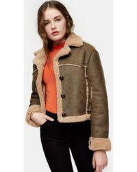 TOPSHOP Shearling Faux-leather Crop Jacket - Multicolour