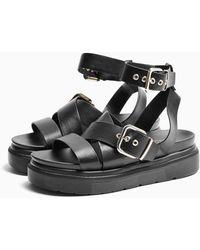 TOPSHOP Prime Black Chunky Sandals