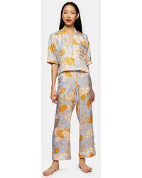 TOPSHOP Pantalon de pyjama bleu à pois et fleurs