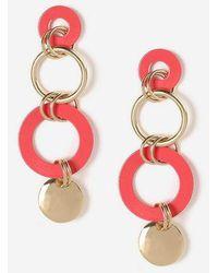 89e508888 TOPSHOP - Linked Circle Drop Earrings - Lyst