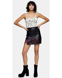 TOPSHOP Idol Black Cut Out Pu Mini Skirt