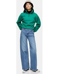 TOPSHOP Jean large bleu moyen