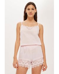 TOPSHOP - Cotton And Lace Camisole Top - Lyst