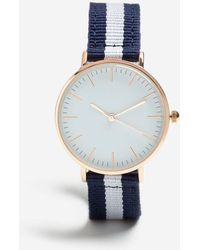 TOPSHOP - Blue Striped Canvas Watch - Lyst