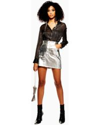 TOPSHOP Silver Metallic Skirt