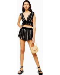 TOPSHOP Black Jacquard Embroidered Shorts - Noir