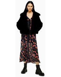 TOPSHOP Black Luxe Faux Fur Coat