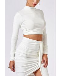 Club L - white Gathered High Neck Crop Top By - Lyst