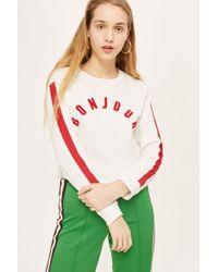 TOPSHOP - Tall 'bonjour' Long Sleeve T-shirt - Lyst