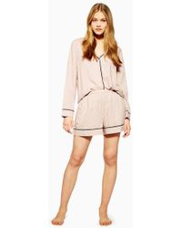 TOPSHOP - Pink Jacquard Star Pyjama Shorts - Lyst