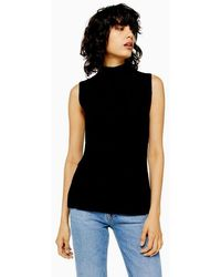 TOPSHOP ribbed Knit Top By Boutique - Black