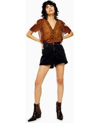 TOPSHOP Roll Hem Denim Mom Shorts - Black