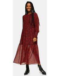 TOPSHOP Red Paisley Pintuck Chuck On Midi Dress