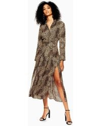 TOPSHOP - Petite Animal Midi Shirt Dress - Lyst