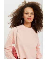 TOPSHOP - Petite Crop Sweatshirt - Lyst