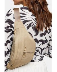 TOPSHOP Babs Double Pocket Nylon Fanny Pack - Natural