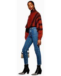 TOPSHOP - Mid Blue Orson Slim Leg Jeans - Lyst