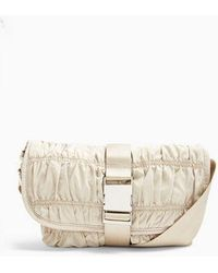 TOPSHOP Ecru Ruched Nylon Messenger Cross Body Bag - Natural