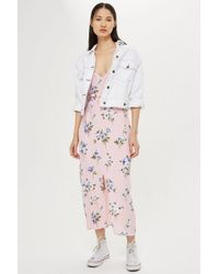 TOPSHOP - Floral Lattice Midi Slip Dress - Lyst