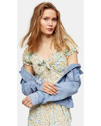 TOPSHOP Yellow And Blue Floral Tie Front Flippy Dress