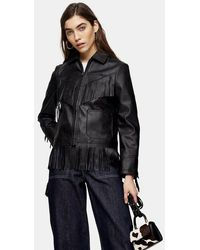 TOPSHOP Black Faux Leather Fringe Jacket