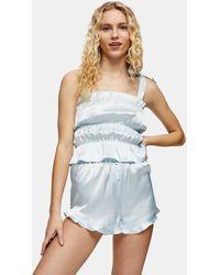 TOPSHOP Blue Satin Ruched Cami Pajama Set