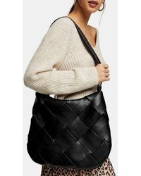 TOPSHOP Black Woven Hobo Bag