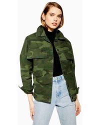 8f19856b4 Oversized Camouflage Shacket - Green